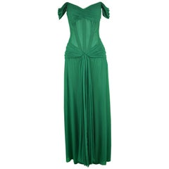 Vicky Tiel Couture 24-Boned Green Jersey Off the Shoulder Evening Gown, 1990s