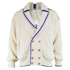 Pancaldi Vintage Men's Sheepskin Shearling & Wool Cable Knit Jacket, 1980s