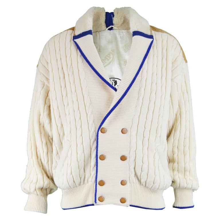 Pancaldi Vintage Men's Sheepskin Shearling & Wool Cable Knit Jacket, 1980s