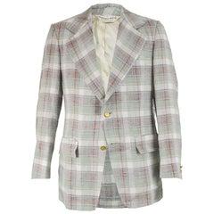 Geoffrey Beene Vintage Mens Checked Linen Sport Coat Blazer Jacket, 1970s
