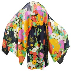 Capriccio Vintage Cotton Kimono Sleeve Vibrant Multicolored Dress, 1970s