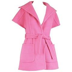Jean Charma Paris Vintage Couture Minimalist Bubblegum Pink Wool Jacket, 1960s