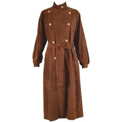 Loewe Vintage Brown Suede Double Breasted Shirt Dress, 1980s