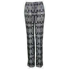 Alexander McQueen Black & Silver Silk & Metallic Brocade Pants, A/W 2003