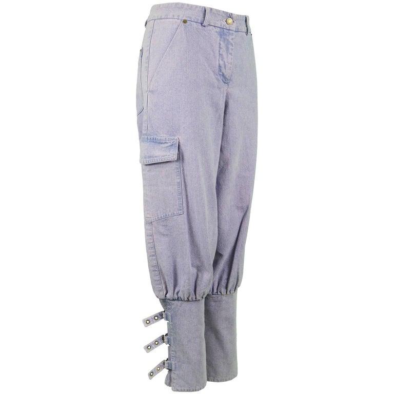 Chloé by Phoebe Philo Blue Pastel Pink Overdyed Denim Jeans / Shorts, S / S 2002