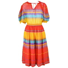 Céline Vintage Brightly Multicolored Cotton Gauze Striped Peasant Dress, 1970s