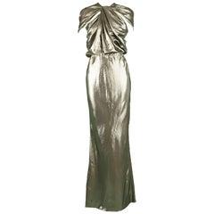 Lanvin Silk Metallic Gold Lamé Floor Length NWT Evening Gown, 2014