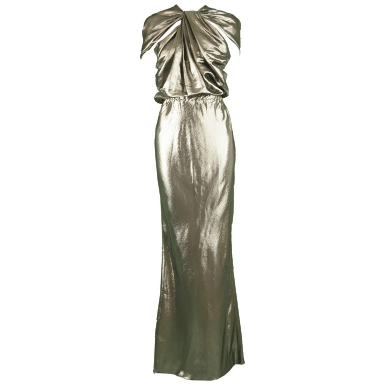 Lanvin Silk Metallic Gold Lamé Floor Length Evening Gown, 2014 at ...