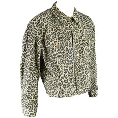 Jean Paul Gaultier Vintage Men's Leopard Print Denim Jacket, 1990s