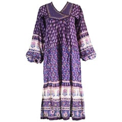 Alpnani Purple Indian Cotton Gauze Block Printed Quilted Boho Dress, 1970s