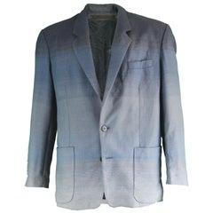 Kenzo Homme Vintage Men's Blue Ombré Woven Wool Blazer Jacket, 1990s