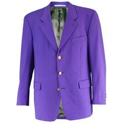 Kenzo Vintage Men's Bright Purple Pure Worsted Wool Blazer Jacket, 1980s