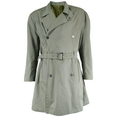 Thierry Mugler Vintage Men's Green Khaki Belted Trench Coat, 1980s