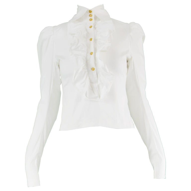 dbab5a2753 Vivienne Westwood Vintage Women's White Ruffled Victoriana Shirt, 1990s For  Sale