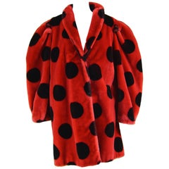 Apparence Paris Striking Red & Black Polka Dot Vintage Faux Fur Coat, 1980s