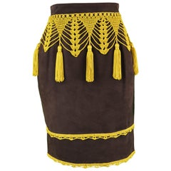 Moschino Vintage Women's Brown Suede Skirt with Crochet Fringe Tassels, 1980s