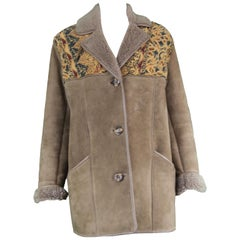 Vintage Tapestry Panelled Brown Sheepskin Shearling Lined Coat , 1970s
