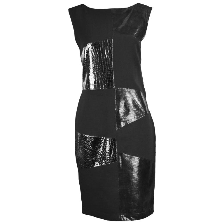 Genny Vintage Wool Crepe & Patent Leather Panelled Shift Dress, 1990s For Sale