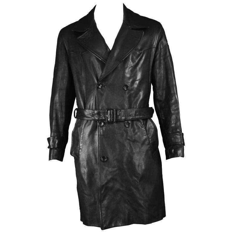 Kenzo Vintage Men's Black Goat Leather Vintage Belted Jacket Trench Coat, 1980s
