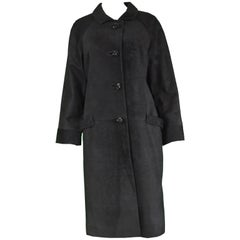 Rare Loewe 1960s Black Suede Leather Vintage Evening Coat with Raglan Sleeves