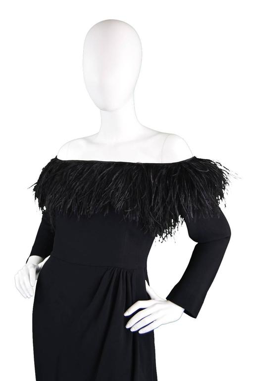 1980's Valentino Ostrich Feather Little Black Dress 3