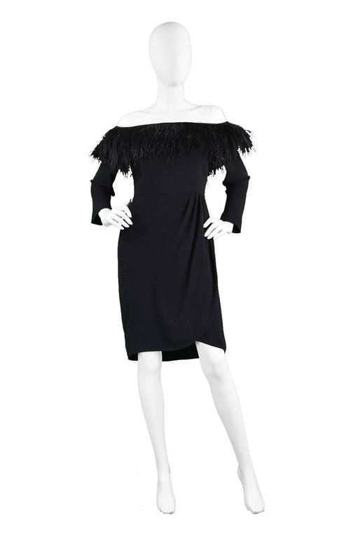 1980's Valentino Ostrich Feather Little Black Dress 2