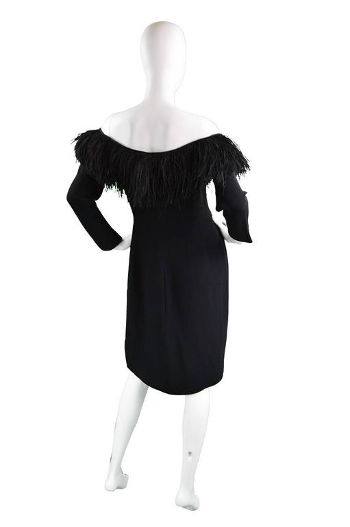 1980's Valentino Ostrich Feather Little Black Dress 7