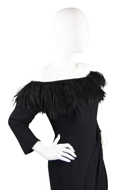 1980's Valentino Ostrich Feather Little Black Dress 4