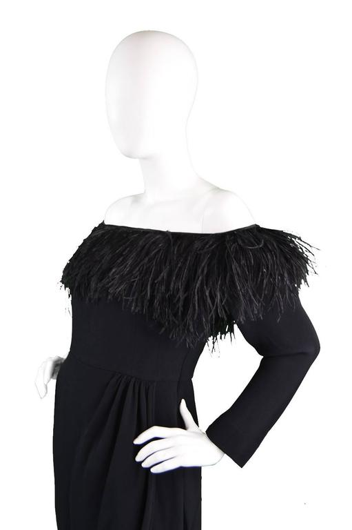1980's Valentino Ostrich Feather Little Black Dress 5