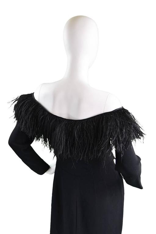 1980's Valentino Ostrich Feather Little Black Dress 8