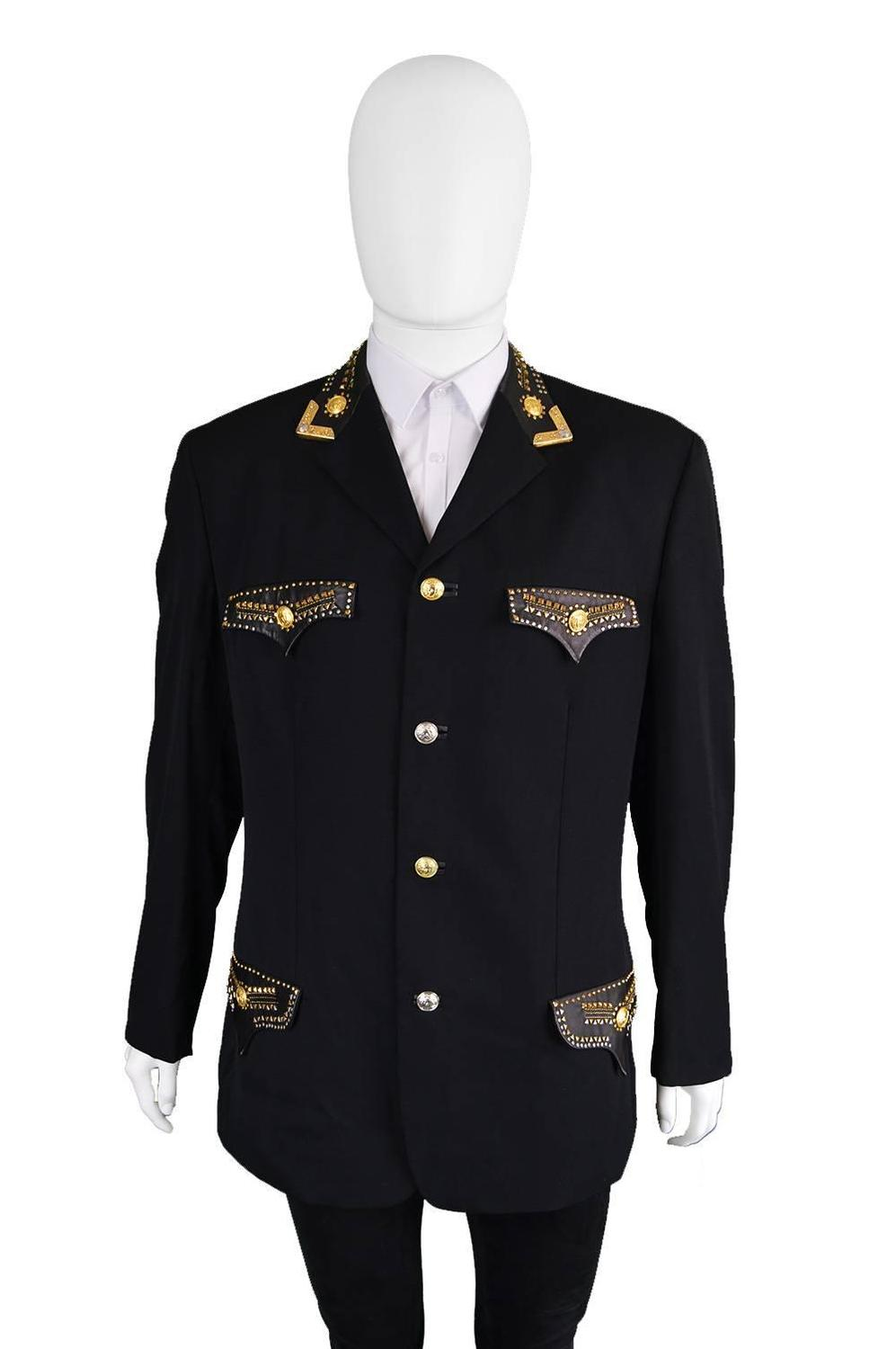 Gianni Versace 1992 Mens Wool And Leather Studded Jacket