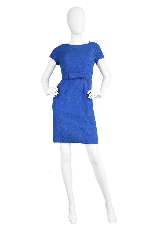 Vintage 1960's Jacques Heim Blue Boucle Wool Wiggle Dress 2