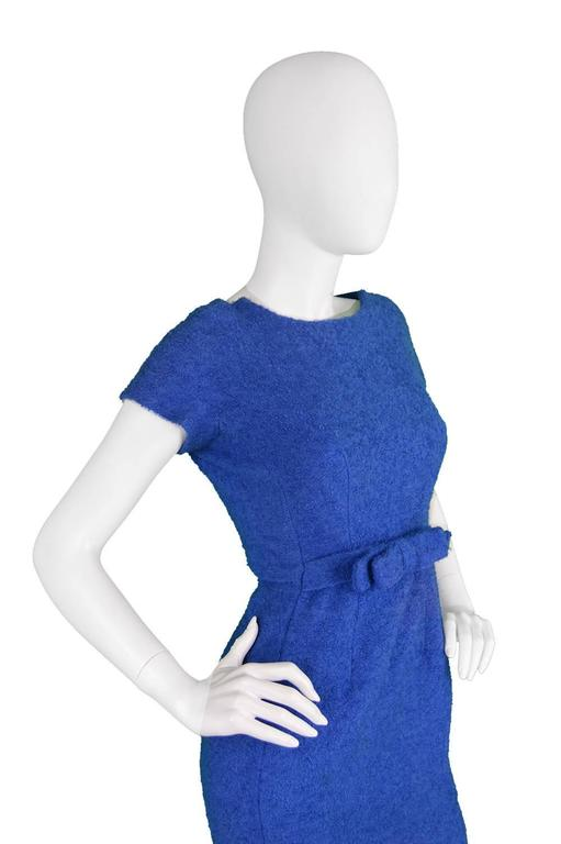Vintage 1960's Jacques Heim Blue Boucle Wool Wiggle Dress 3