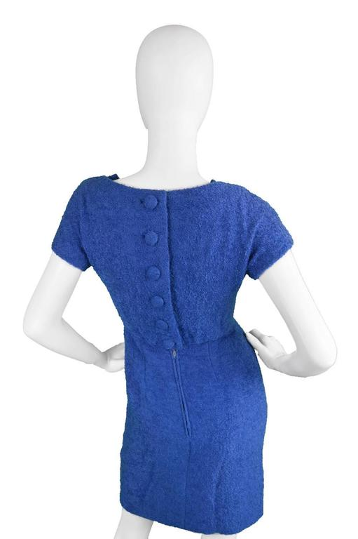 Vintage 1960's Jacques Heim Blue Boucle Wool Wiggle Dress 4