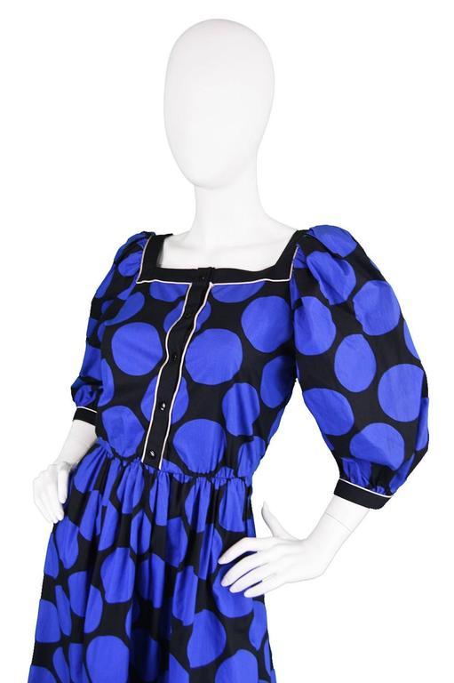 Purple 1980s Vintage Louis Feraud Black & Blue Puff Sleeve Dress with Polka Dot Print For Sale