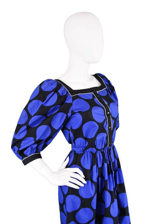 1980s Vintage Louis Feraud Black & Blue Puff Sleeve Dress with Polka Dot Print In Excellent Condition For Sale In Doncaster, South Yorkshire