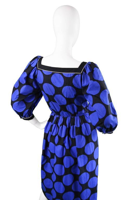 Women's 1980s Vintage Louis Feraud Black & Blue Puff Sleeve Dress with Polka Dot Print For Sale