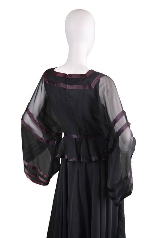 Jean Varon Vintage Black Chiffon Evening Gown, 1970s  For Sale 1