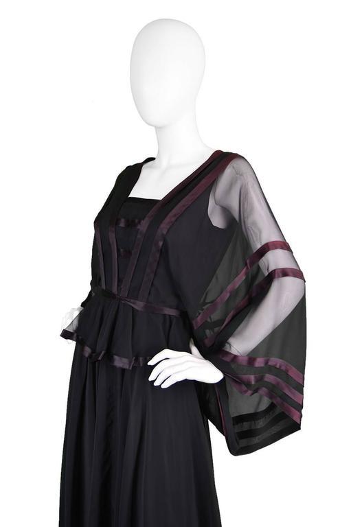 Women's or Men's Jean Varon Vintage Black Chiffon Evening Gown, 1970s  For Sale
