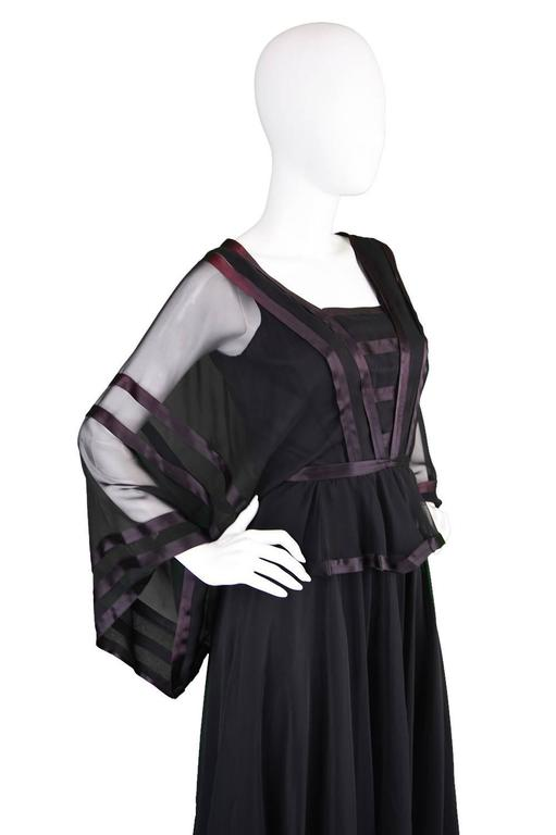 Jean Varon Vintage Black Chiffon Evening Gown, 1970s  In Excellent Condition For Sale In Doncaster, South Yorkshire