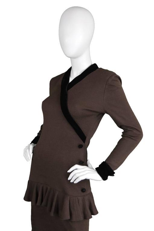Vintage 1980s Oscar de la Renta Miss O Brown Knit Dress 5