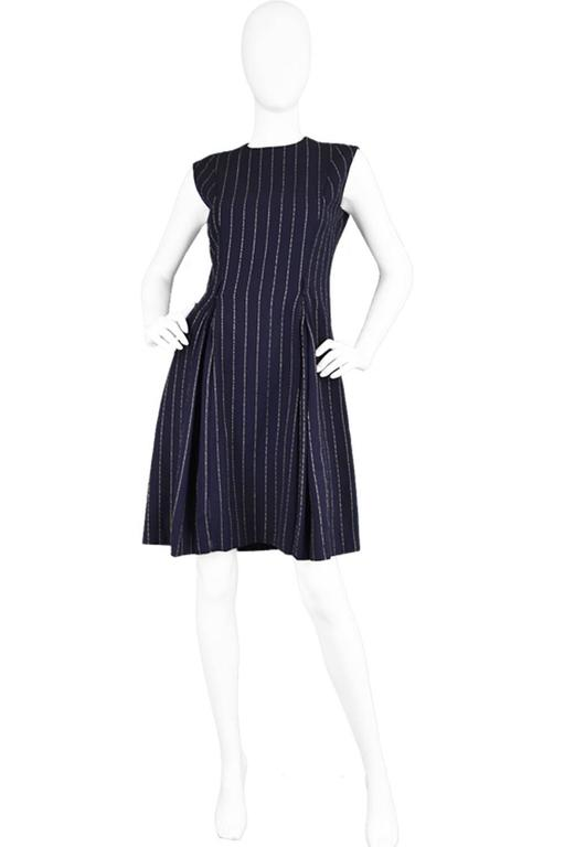 Vintage 1960 S Bill Blass For Maurice Rentner Navy Pinstripe Dress