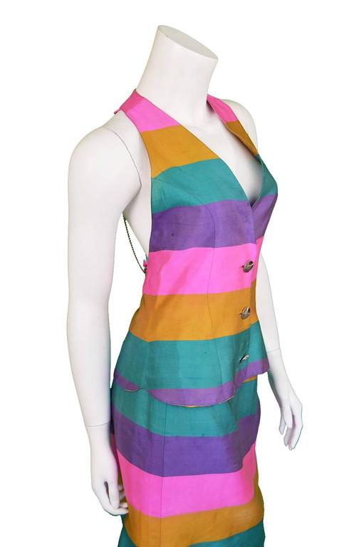 Women's Paco Rabanne Vintage Backless Chain Rainbow Silk 2 Piece Skirt Suit, 1990s  For Sale