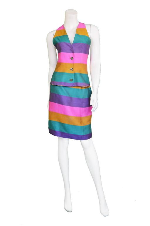 Paco Rabanne Vintage Backless Chain Rainbow Silk 2 Piece Skirt Suit, 1990s  In Excellent Condition For Sale In Doncaster, GB