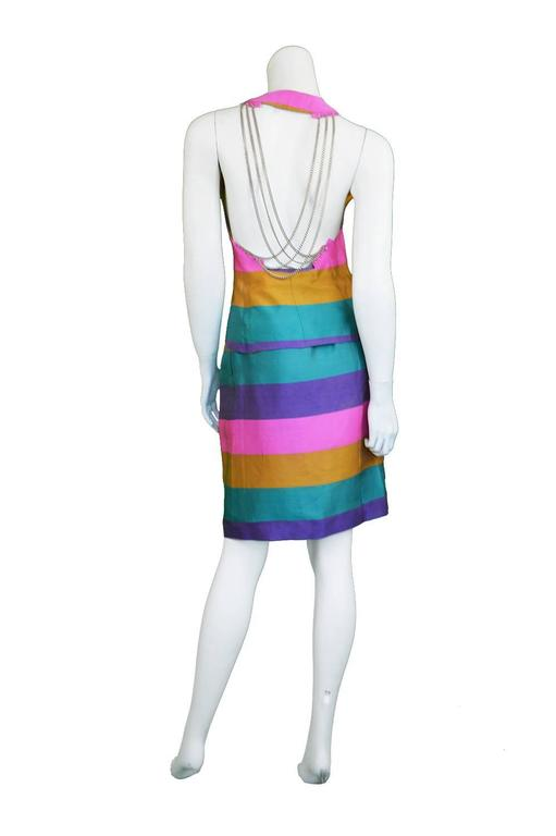 Gray Paco Rabanne Vintage Backless Chain Rainbow Silk 2 Piece Skirt Suit, 1990s  For Sale