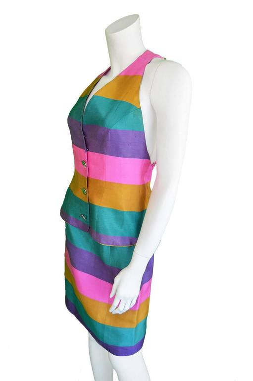 Paco Rabanne Vintage Backless Chain Rainbow Silk 2 Piece Skirt Suit, 1990s  For Sale 1