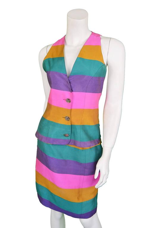 Paco Rabanne Vintage Backless Chain Rainbow Silk 2 Piece Skirt Suit, 1990s  For Sale 2