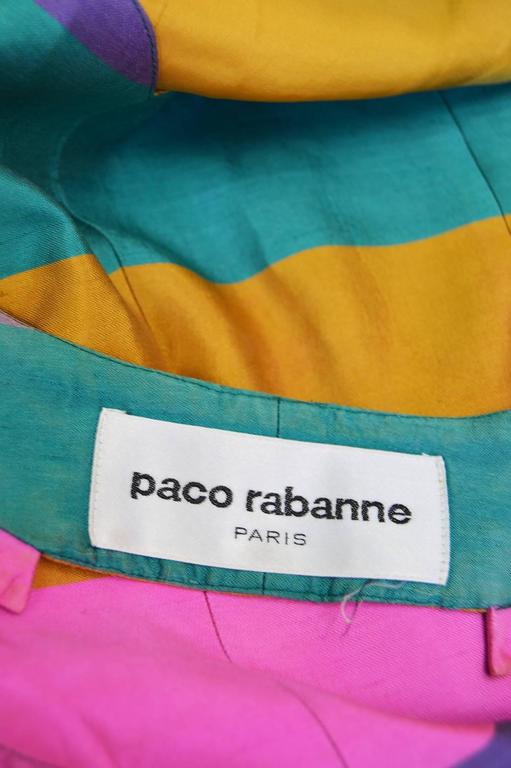 Paco Rabanne Vintage Backless Chain Rainbow Silk 2 Piece Skirt Suit, 1990s  For Sale 3