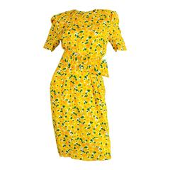 Vintage 1980s Hardy Amies Demi Couture Yellow Floral Silk Summer Dress