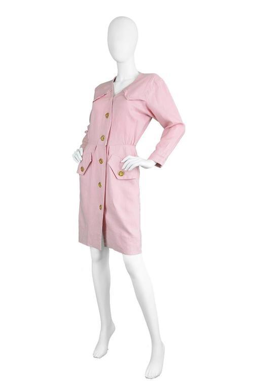 Beige 1980s Vintage Yves Saint Laurent Baby Pink Linen Dress Rive Gauche For Sale